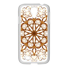 Golden Filigree Flake On White Samsung Galaxy S4 I9500/ I9505 Case (white) by Amaryn4rt