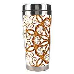 Golden Filigree Flake On White Stainless Steel Travel Tumblers by Amaryn4rt
