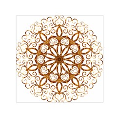 Golden Filigree Flake On White Small Satin Scarf (square)