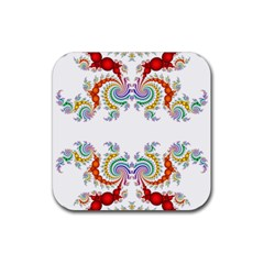 Fractal Kaleidoscope Of A Dragon Head Rubber Square Coaster (4 Pack)  by Amaryn4rt