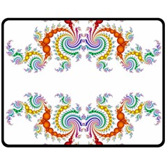 Fractal Kaleidoscope Of A Dragon Head Double Sided Fleece Blanket (medium)  by Amaryn4rt