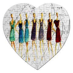 Fashion Sketch  Jigsaw Puzzle (heart) by Valentinaart