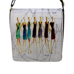 Fashion Sketch  Flap Messenger Bag (l)  by Valentinaart