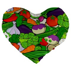 Vegetables  Large 19  Premium Heart Shape Cushions by Valentinaart
