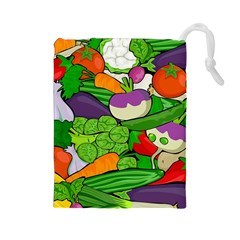 Vegetables  Drawstring Pouches (large)  by Valentinaart