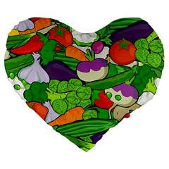 Vegetables  Large 19  Premium Flano Heart Shape Cushions by Valentinaart