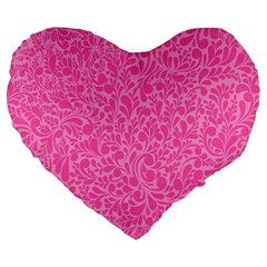 Pink Pattern Large 19  Premium Flano Heart Shape Cushions by Valentinaart