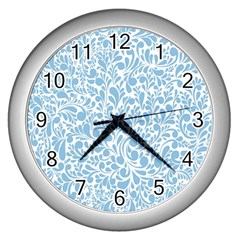 Blue Pattern Wall Clocks (silver)  by Valentinaart