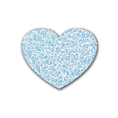 Blue Pattern Rubber Coaster (heart)  by Valentinaart