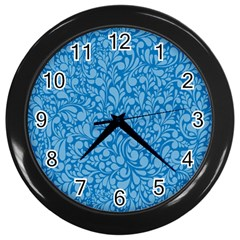Blue Pattern Wall Clocks (black) by Valentinaart