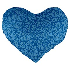 Blue Pattern Large 19  Premium Flano Heart Shape Cushions by Valentinaart