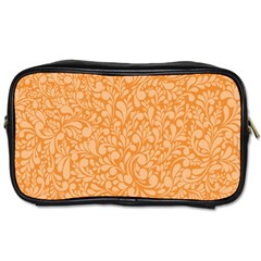 Orange Pattern Toiletries Bags by Valentinaart