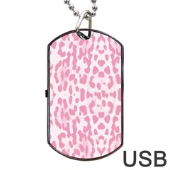 Leopard Pink Pattern Dog Tag Usb Flash (two Sides) by Valentinaart