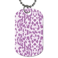 Purple Leopard Pattern Dog Tag (two Sides) by Valentinaart