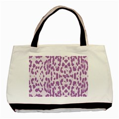 Purple Leopard Pattern Basic Tote Bag (two Sides) by Valentinaart