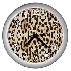 Leopard Pattern Wall Clocks (silver)  by Valentinaart