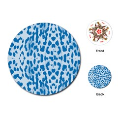 Blue Leopard Pattern Playing Cards (round)  by Valentinaart