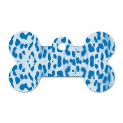 Blue Leopard Pattern Dog Tag Bone (one Side) by Valentinaart