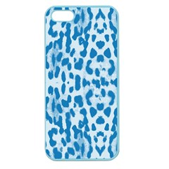 Blue Leopard Pattern Apple Seamless Iphone 5 Case (color) by Valentinaart