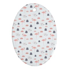 Cute Flamingos And  Leaves Pattern Ornament (oval) by TastefulDesigns