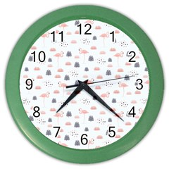 Cute Flamingos And  Leaves Pattern Color Wall Clocks
