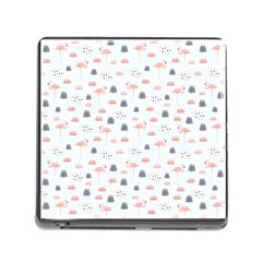 Cute Flamingos And  Leaves Pattern Memory Card Reader (square) by TastefulDesigns