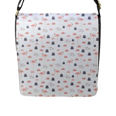 Cute Flamingos And  Leaves Pattern Flap Messenger Bag (l)  by TastefulDesigns