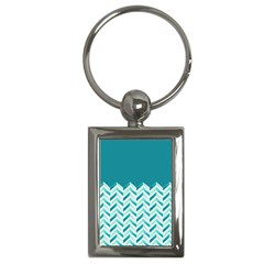 Zigzag Pattern In Blue Tones Key Chains (rectangle)  by TastefulDesigns