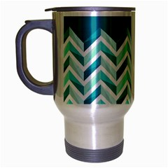 Zigzag Pattern In Blue Tones Travel Mug (silver Gray) by TastefulDesigns