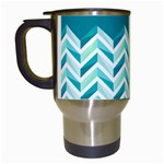 Zigzag pattern in blue tones Travel Mugs (White) Left