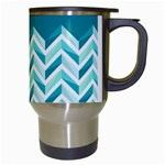 Zigzag pattern in blue tones Travel Mugs (White) Right
