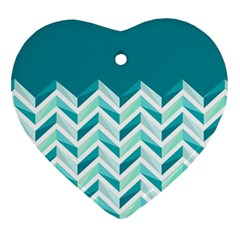 Zigzag Pattern In Blue Tones Heart Ornament (two Sides) by TastefulDesigns