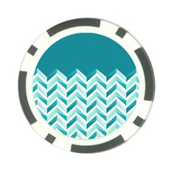 Zigzag Pattern In Blue Tones Poker Chip Card Guard by TastefulDesigns