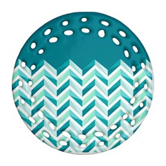 Zigzag Pattern In Blue Tones Ornament (round Filigree) by TastefulDesigns