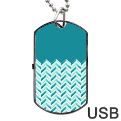 Zigzag Pattern In Blue Tones Dog Tag Usb Flash (two Sides) by TastefulDesigns