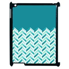 Zigzag Pattern In Blue Tones Apple Ipad 2 Case (black) by TastefulDesigns