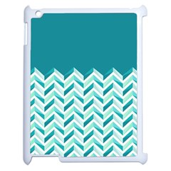 Zigzag Pattern In Blue Tones Apple Ipad 2 Case (white) by TastefulDesigns