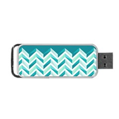 Zigzag Pattern In Blue Tones Portable Usb Flash (one Side) by TastefulDesigns
