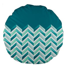 Zigzag Pattern In Blue Tones Large 18  Premium Round Cushions by TastefulDesigns