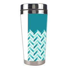 Zigzag Pattern In Blue Tones Stainless Steel Travel Tumblers by TastefulDesigns