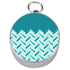 Zigzag Pattern In Blue Tones Silver Compasses