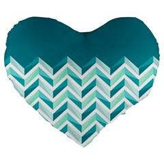Zigzag Pattern In Blue Tones Large 19  Premium Flano Heart Shape Cushions by TastefulDesigns