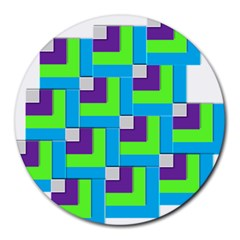 Geometric 3d Mosaic Bold Vibrant Round Mousepads by Amaryn4rt