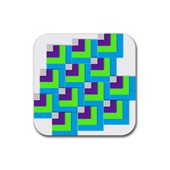 Geometric 3d Mosaic Bold Vibrant Rubber Square Coaster (4 Pack)  by Amaryn4rt