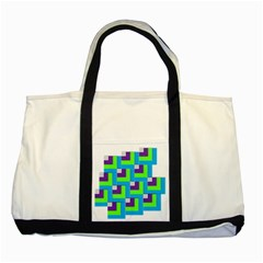 Geometric 3d Mosaic Bold Vibrant Two Tone Tote Bag by Amaryn4rt