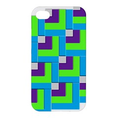 Geometric 3d Mosaic Bold Vibrant Apple Iphone 4/4s Premium Hardshell Case by Amaryn4rt