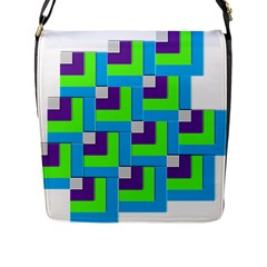 Geometric 3d Mosaic Bold Vibrant Flap Messenger Bag (l)  by Amaryn4rt