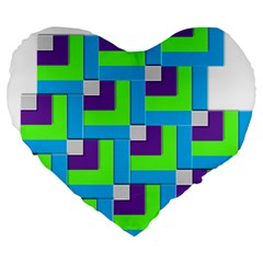 Geometric 3d Mosaic Bold Vibrant Large 19  Premium Flano Heart Shape Cushions by Amaryn4rt