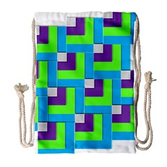 Geometric 3d Mosaic Bold Vibrant Drawstring Bag (large) by Amaryn4rt