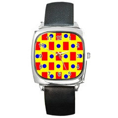Pattern Design Backdrop Square Metal Watch by Amaryn4rt